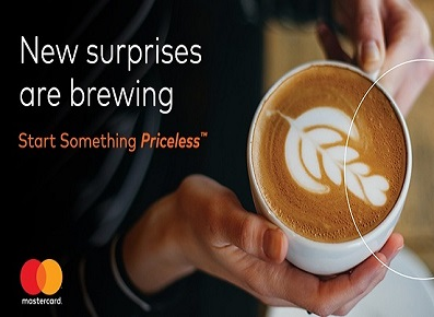 Hands holding a hot cup of coffee for priceless surprises ad